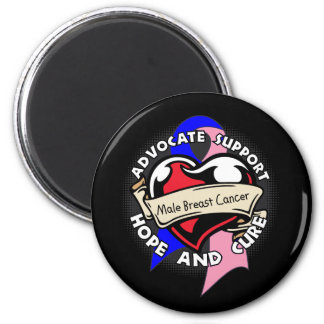 Heart Ribbon - Male Breast Cancer 2 Inch Round Magnet