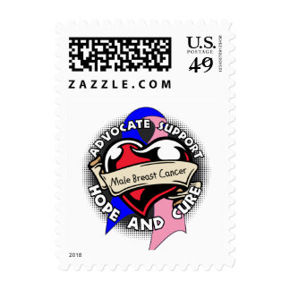 Heart Ribbon - Male Breast Cancer Postage