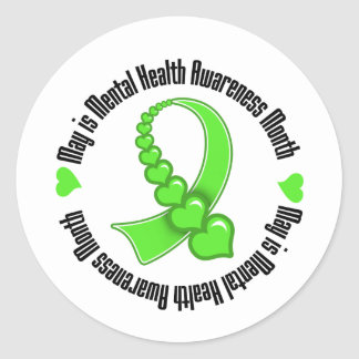 Heart Ribbon May is Mental Health Awareness Month Classic Round Sticker