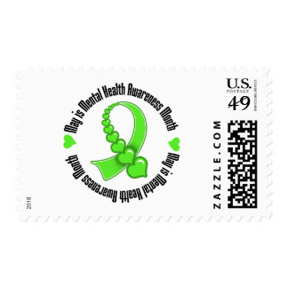 Heart Ribbon May is Mental Health Awareness Month Postage