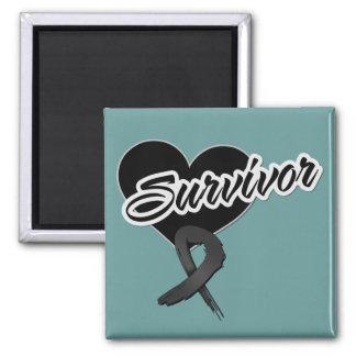 Heart Ribbon - Melanoma Survivor 2 Inch Square Magnet