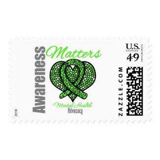Heart Ribbon Mental Health Awareness Matters Stamps