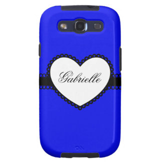 Heart Ribbon on Blue Custom Name Galaxy S3 Cases