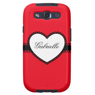 Heart Ribbon on Bright Red Custom Name Samsung Galaxy S3 Cases