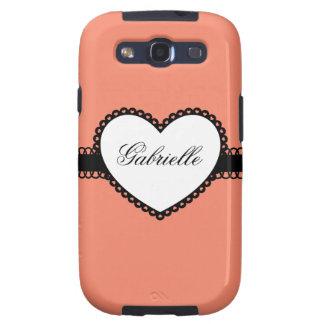 Heart Ribbon on Fushia Peach Custom Name Samsung Galaxy SIII Case