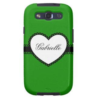 Heart Ribbon on Green Custom Name Galaxy S3 Case