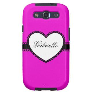 Heart Ribbon on Hot Pink Custom Name Samsung Galaxy SIII Cases