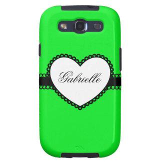 Heart Ribbon on Neon Green Custom Name Samsung Galaxy SIII Cases
