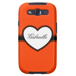 Heart Ribbon on Orange Custom Name Galaxy SIII Case