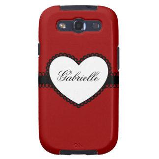 Heart Ribbon on Red Custom Name Samsung Galaxy S3 Case