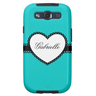 Heart Ribbon on Teal Custom Name Samsung Galaxy SIII Covers