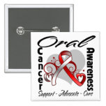 Heart Ribbon - Oral Cancer Awareness Pinback Button