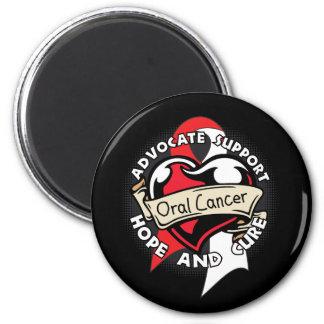 Heart Ribbon - Oral Cancer Fridge Magnet