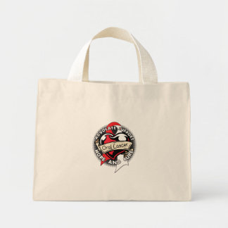 Heart Ribbon - Oral Cancer Tote Bags