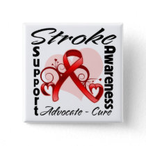 Heart Ribbon - Stroke Awareness Pinback Button