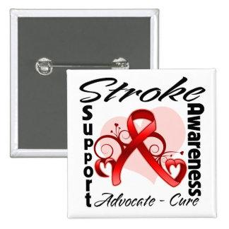 Heart Ribbon - Stroke Awareness Pinback Button