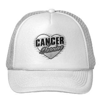 Heart Ribbon Survivor Brain Cancer Mesh Hat