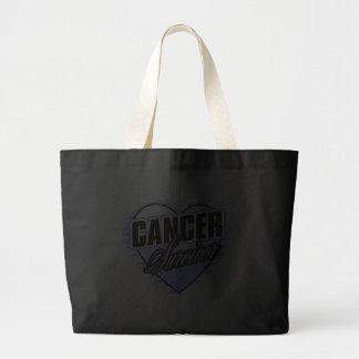 Heart Ribbon Survivor Stomach Cancer Canvas Bag