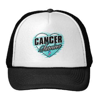 Heart Ribbon Survivor Thyroid Cancer Hat