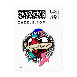 Heart Ribbon - Thyroid Cancer Postage Stamp