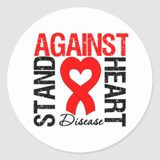 Heart Ribbon v2 - Stand Against Heart Disease Classic Round Sticker