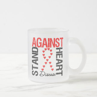 Heart Ribbon v5 - Stand Against Heart Disease 10 Oz Frosted Glass Coffee Mug