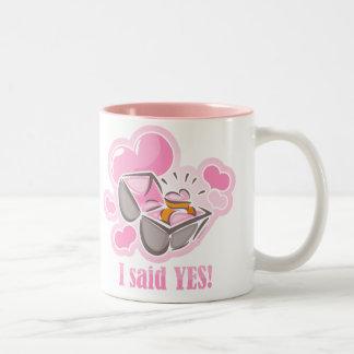 Heart Ring I Said Yes Two-Tone Coffee Mug