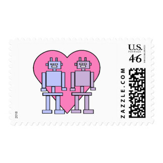 Heart Robots Postage Stamps