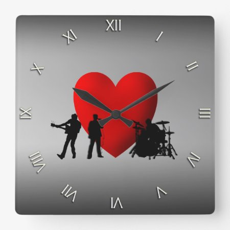 Heart Rock and Roll Wall Clock Roman Numerals