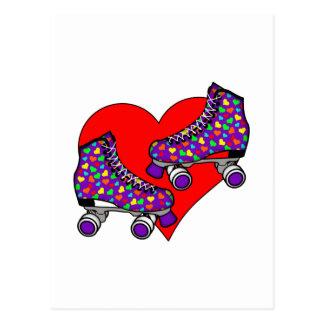 Heart Rollerskates Postcard