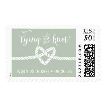 Beach Themed Heart Rope Knot Wedding Stamp (Mint / Green)