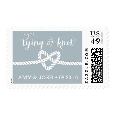 Beach Themed Heart Rope Knot Wedding Stamp (Silver / Gray)