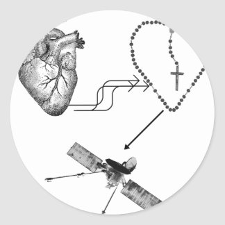 Heart Rosary Impossibility Classic Round Sticker