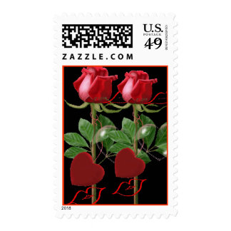 Heart Rose Kiss Postage Stamps