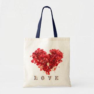 Heart Rose Petals tote Tote Bags