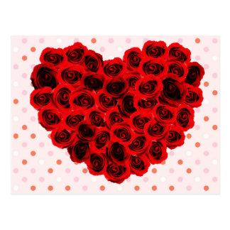 Heart rose postcard