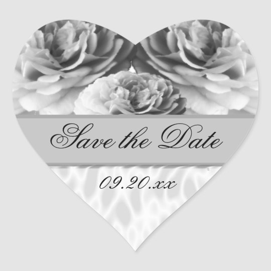 "Heart Rose ""Save the Date"" Heart Sticker"