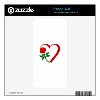 Heart & Rose Skins For iPhone 4