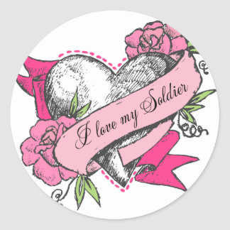 Heart & Roses Classic Round Sticker