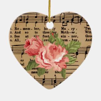 Heart Roses Music Memorare Virgin Mary Ceramic Ornament