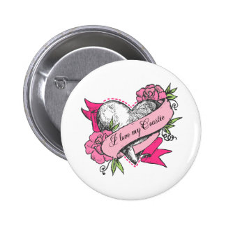 Heart & Roses Pinback Button
