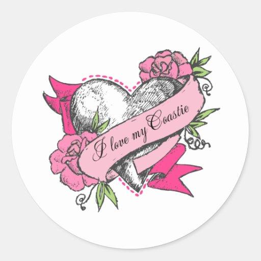 Heart & Roses Round Sticker