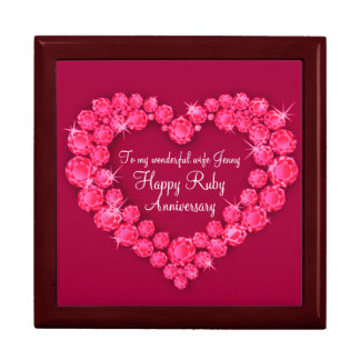Heart ruby wedding anniversary wife gift box