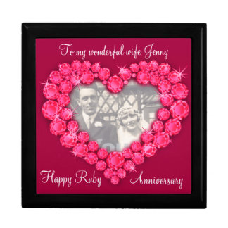 Heart ruby wedding photo wife gift box