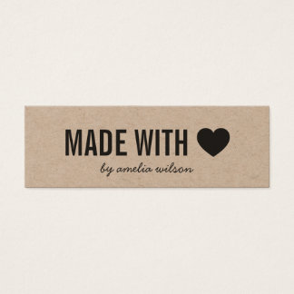 Heart Rustic Made with Love Kraft Social Media Mini Business Card