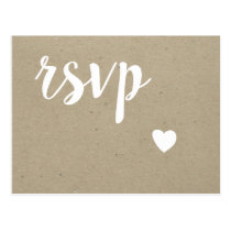 Heart rustic wedding RSVP postcards