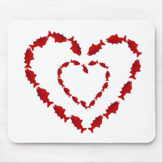 HEART SALMON FISH MOUSE PAD