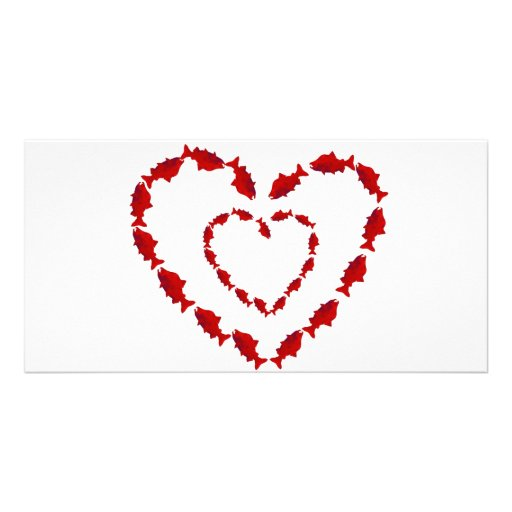 HEART SALMON FISH PICTURE CARD