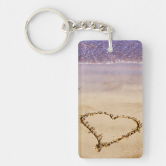 Heart Sand Beach Ocean Romantic Valentine - Custom Rectangular Acrylic Keychains
