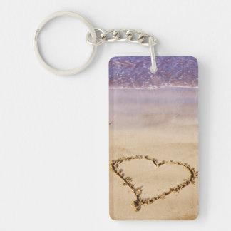 Heart Sand Beach Ocean Romantic Valentine - Custom Keychain